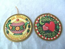 Mary Engelbreit Lot Flat Cardboard Christmas Ornaments! 2! Round! Two Sided!