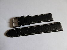 Gent's Old New Stock DARLENA Black Leather Wristwatch Strap 20 mm & Buckle