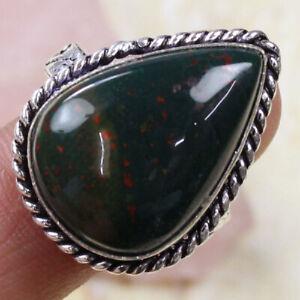 Bloodstone 925 Silver Plated Handmade Gemstone US Size 7.5 Ethnic Gift