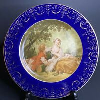 Red RS Wreath Cabinet Plate F. Boucher Courting Couple Cobalt Blue Gold
