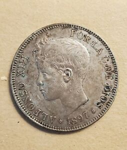 VICUSCOIN - SPAIN - SILVER - 5 PESETAS - ALFONSO XIII - YEAR 1897 SGV