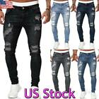 Mens Ripped Skinny Jeans Stretch Distressed Denim Pants Casual Slim Fit Trousers