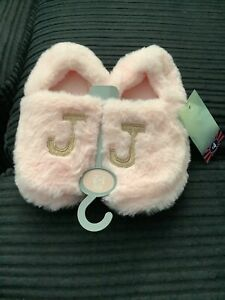 Girls Fluffy Slippers in Pink with Personalised Letter 'J' - size 1-2 UK