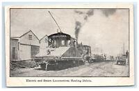 Postcard Electric/Steam Locomotives Hauling San Francisco CA 1906 Earthquake G27