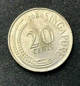 1984 Singapore 20 Cents Coin XF   World Coin   Copper nickel   #K1309