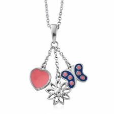 CHARM PENDANT NECKLACE BUTTERFLY DAISY HEART STAINLESS STEEL ENAMEL BLUE PINK 20