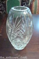 "Crystal Vase, beautiful design, 8"" tall[a5]"