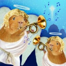 Angels Guinea Pig  Small Xmas cards 10 pack glitter detail