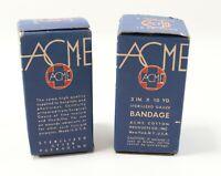 NOS- Vintage LOT of (2) ACME Cotton Sterilized Gauze Bandage 3 IN X 10 YD Boxes