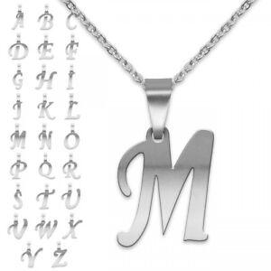 Kettenanhänger Buchstabe mit oder ohne Kette Edelstahl Alphabet Anhänger silbern
