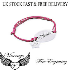 Personalised Engraved Name Pink With Star Charm Solid Bracelet Free UK Vincenza