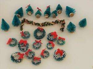 Dollhouse 25 pc  Miniature Vtg Bottlebrush Christmas Tree & Wreath LOT F 1:12