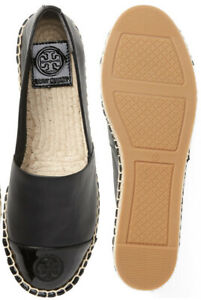 NIB Tory Burch Color Block Flat Leather Espadrille Perfect Black Size 8.5