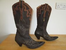 Fauzian Jeunesse Brown Italian Leather Western Cowboy Boots UK Size 6 EU 39
