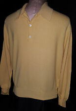 BRIONI Mens 1/3 Button Front Lightweight Sweater Yellow Sz 52 Medium Wool Italy