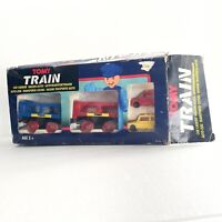 Tomy Train Car Carrier Wagon Set With 2 Toy Cars Vintage With Magnetic Couplings