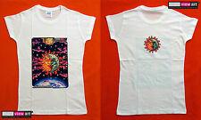 SUN + MOON Womens T-shirt Psychedelic UV Blacklight Glow-in-the-dark Fluorescent