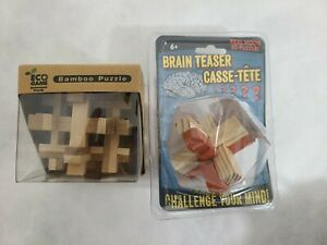 Lot of 2 BRAIN TEASER CASSE-TETE Real Wood 3-D Puzzle - ECO Game Bamboo Puzzle