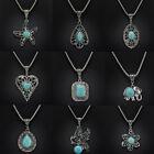 Fashion Vintage Tibetan Silver Turquoise Bib Crystal Pendant Long Necklace Women