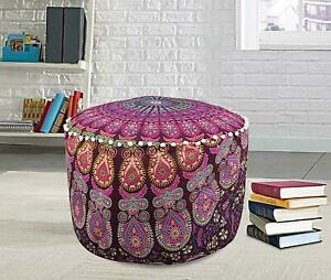 Ethnic Footstool Peacock Mandala Design Cotton Fabric Handmade Ottoman Cover