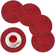 wartleves Christmas Placemats Set of 4 Embroidered Red Placemats for Dining Tabl