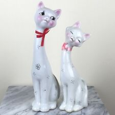 "Pair of White Porcelain Love Cats Figurine Statue 12""H New"