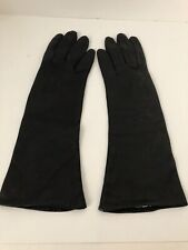 "Max Mayer co black Leather Italy 6 1/2 rayon lined gloves 11"" pre owned Guc"
