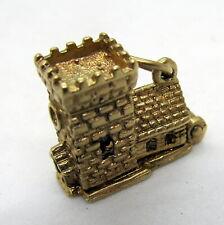 9ct Yellow Gold Vintage Antique Castle Wedding Marriage Love Charm Bracelet