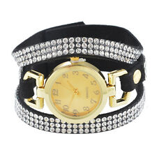 Ladies Vintage Rhinestone Weave Wrap Multilayer Leather Bracelet Wrist Watch