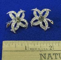 Vintage Silvertone Metal Clip On Earrings Rhinestone Flower Floral Leaf Jewelry