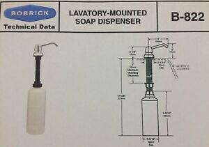 BobRick B-822 Counter Top Mount Liquid Hand Soap Dispenser Sink Laboratory