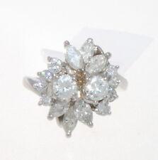 VINTAGE PLATINUM & DIAMOND CLUSTER RING 1.80 CTS.