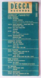 Vintage DECCA RECORDS price guide CATALOG January 1948 LYNN Mass Rosetta Tharpe