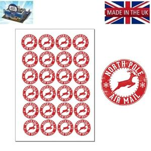 CHRISTMAS XMAS LETTER SEAL STAMP LABEL NORTH POLE AIR MAIL STICKER NPM1