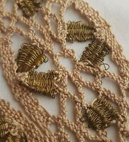 Vin. Hand Made Ecru Lace Cotton w/Gold Metallic Accents French
