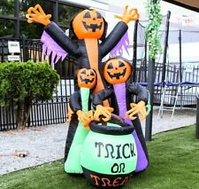 Halloween Air Blown Inflatable Decoration 6' Trick Or Treat Pumpkin Witches LED