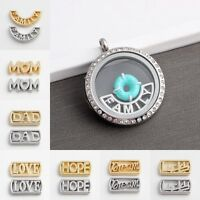 5pcs Zinc Alloy Word Mom Dad Love Floating Charm for Glass Living Memory Lockets