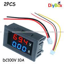 2x Digital Led Voltage Meter Dc100v 10a Voltmeter Ammeter Bluered Led Amp Dual