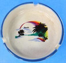 Flordia Ashtray Souvenir 4 In Cigarette Palm Trees Rainbow 3 Slots Blue Rimmed