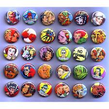 VINTAGE RETRO COMICS PULP BADGES x 30 Buttons Pinbacks Lot Wholesale 25mm