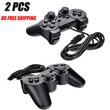 2pcs black USB Dual Shock PC Computer Wired Gamepad Game Controller Joystick