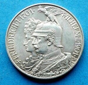 ! PREUSSEN Silber 2 Mark 1901 200 Jahre Königreich Friedrich I. Wilhelm II.