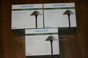 3X Kichler 3-watt olde bronze low voltage hardwired led path light 28304