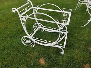 Vintage Wrought Iron Patio Set with Tea cart
