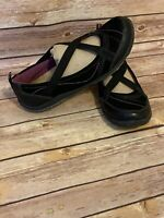 EARTH Origins Arleen Flats Size 7.5 M Womens Black Slip on Shoes Strappy Loafer