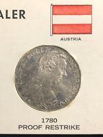 """Austria 1780 SF Silver Thaler """" Maria Theresa"""" Proof Restrike World Coin"""