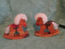 2 wooden rocking horses Christmas holiday ornaments ~ estate find