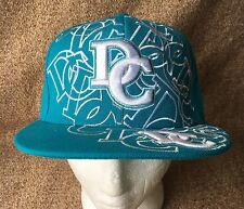 Washington DC Teal Blue Embroidered Flat Brim Ball Cap Hat Fitted