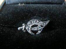 Shriners 14K white gold Lapel Pin with 7 Diamonds