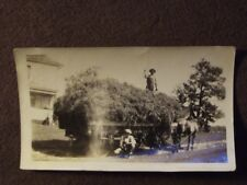 MEN WITH HORSE DRAWN WAGON FULL OF HAY Vintage 1930's PHOTO